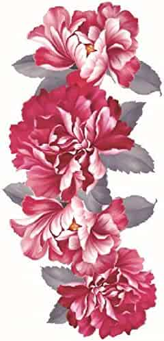 08aca9d47c89d Grashine new design temporary tattoo stickers Beautiful and colorful red  peony flowers waterproof and non toxic