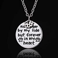 """Loss Of A Pet """"no Longer By My Side But Forever In My Heart"""" Paw Print Necklace"""