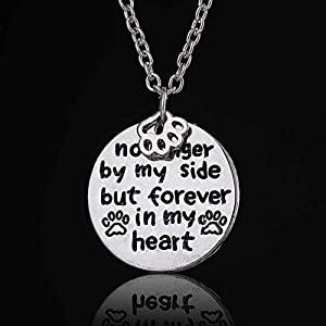 "Loss Of A Pet ""no Longer By My Side But Forever In My Heart"" Paw Print Necklace"