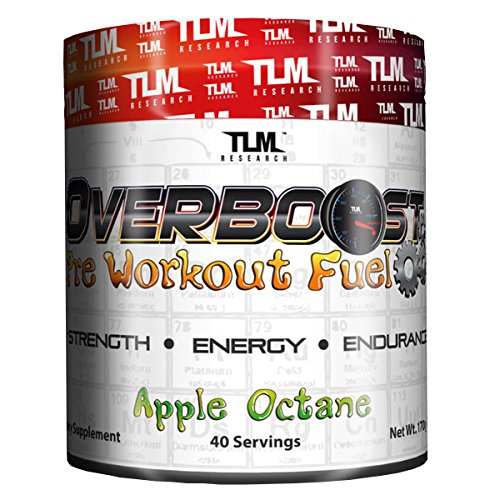 TLM Research | Overboost | Pre-Workout | Increased Strength, Energy & Endurance | 40 Servings (Blue Raz)
