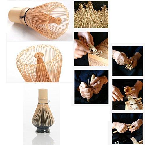 Complete Start Up Matcha Tea Kit - Retro Japanese Natural Bamboo Matcha Whisk (Chasen) - Scoop - Matcha Bowl - Whisk Holder - Ceremony Matcha tea Sets (Lotus flower, 4 PCS)