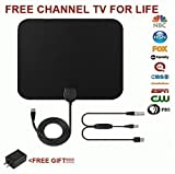 HDTV Antenna, 65-80 Mile Range Indoor With Amplified. TV Antenna with Detachable Amplifier Signal Booster With 10 Feet Coaxial Cable-Black and Free Bonus USB Power Supply