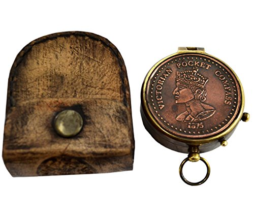 Brass Nautical Queen Victoria Magnetic 2 inch Gift Pocket Compass in Leather Case (Sundial Charm)