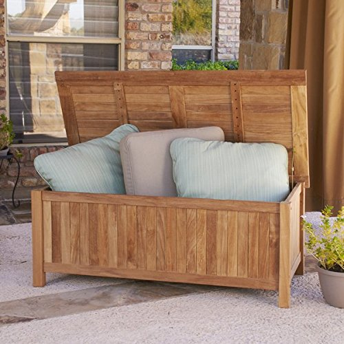 Traditional Teak Deck Box, Slatted Bottom, Can be Used as a Storage Bench, Solid Teak Wood Construction, Light Brown Natural Finish, Great Choice for Organizing Any Outdoor Living Space by Jaxterrific (Image #3)