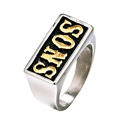 Masop Jewellery Mens Stainless Steel Biker Rings Sons Sons Of Anarchy Punk Size 11