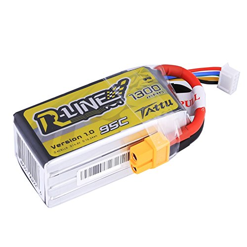 Tattu R-Line LiPo Battery Pack 1300mAh 14.8V 95C 4S with XT60 Plug for FPV Racing