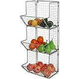 3-Tier Gray Metal Wire Wall Mounted Kitchen Produce Fruits Bin Rack, Bathroom Towel Storage Baskets