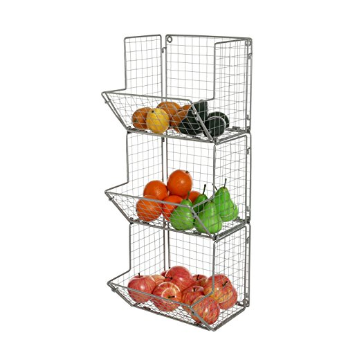 MyGift 3-Tier Gray Metal Wire Wall Mounted Kitchen Produce Fruits Bin Rack, Bathroom Towel Storage Baskets by MyGift
