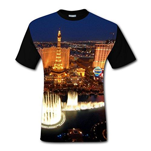 Las Vegas View T-shirts Tee Shirt for Men Tops Costume Round Black XL - Good College Costume Ideas Guys