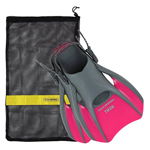US Divers Trek Travel Fin With Mesh Carrying Bag, Raspberry, - Swim Fins Small