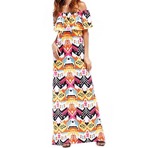 colored Multi Vestido Cuello Atractivo Lleno Elegante M Impresión Volantes Delgado Vestido 86wnqagz