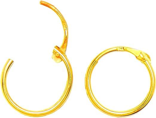 14kt Yellow Gold Hinged Hoop Earrings