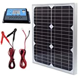 TP-solar Solar Panel Kit 20W 12V Monocrystalline with 10A Solar Charge Controller + Extension Cable with Battery Clips O…