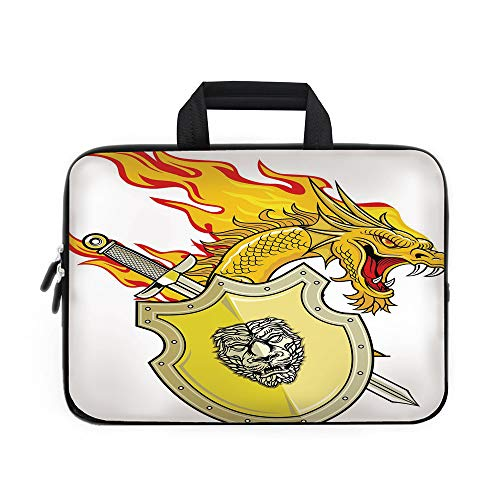 Dragon Laptop Carrying Bag Sleeve,Neoprene Sleeve Case/Legendary Creature with Royal Shield Sword Hero Knight Medieval Print/for Apple Macbook Air Samsung Google Acer HP DELL Lenovo AsusMarigold Pista (Pista Roll)