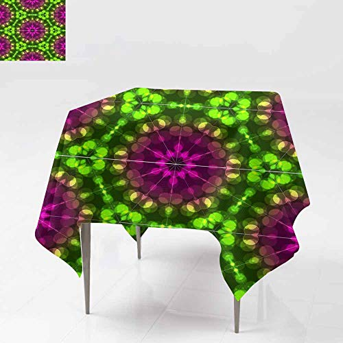 Washable Square Tablecloth,Abstract Colorful Light Bokeh Wallpaper Texture background5 for Square and Round Tables 70x70 Inch ()