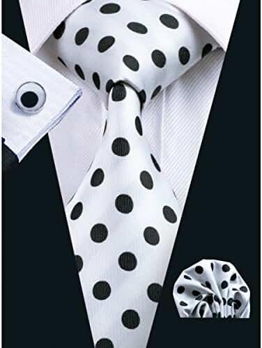 CAOFENVOO White Polka Dots Men's Tie Hanky Cufflinks Set