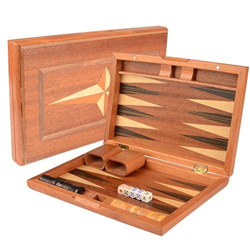 11 Portable Backgammon Game Set w/ Wood Inlay by Yellow Mountain Imports (Wood Inlay Backgammon)