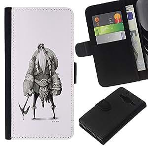 Stuss Case / Funda Carcasa PU de Cuero - Vikingo Sketch Carácter Shield Warrior - Samsung Galaxy Core Prime