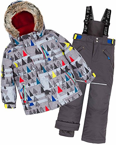 Deux par Deux Boys' 2-Piece Snowsuit Forest Exploration Gray, Sizes 3-10