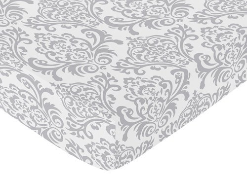Sweet Jojo Designs Fitted Crib Sheet for Skylar Baby/Toddler Bedding - Gray Damask Print by Sweet Jojo Designs (Image #3)