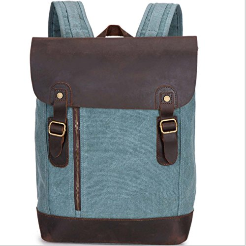Retro Bag Shoulder Capacity Green Backpack Large Casual Outdoor Canvas xqwtg7C5vg