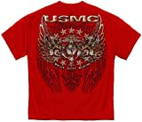 USMC PRIDE DUTY HONOR STARS SILVER FOIL T-Shirt,Red,X-large