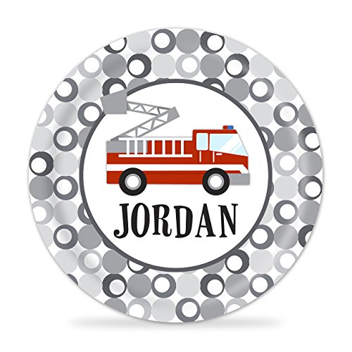 Fire Truck Personalized Plate - Kids Red Firetruck Melamine Plate (Personalized Fire Plate Truck)