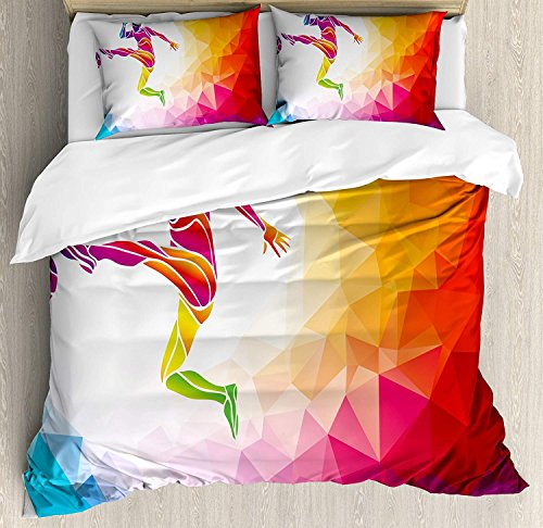 Lightweight Microfiber Duvet Cover Set with Zipper Closure Teen Room Decor Fractal Soccer Player Hitting the Ball Polygon Abstract Artful Illustration Printed Hotel Quality Bedding Collection, King by ARTSHOWING