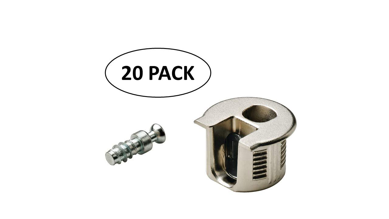 Includes Connector housing and Bolt 8 Pack, Brown 19mm Rafix 20 Panel Connector Set for 3//4 Use for Furniture and Custom Closet Systems No Edge Boring Required. Hafele Panels