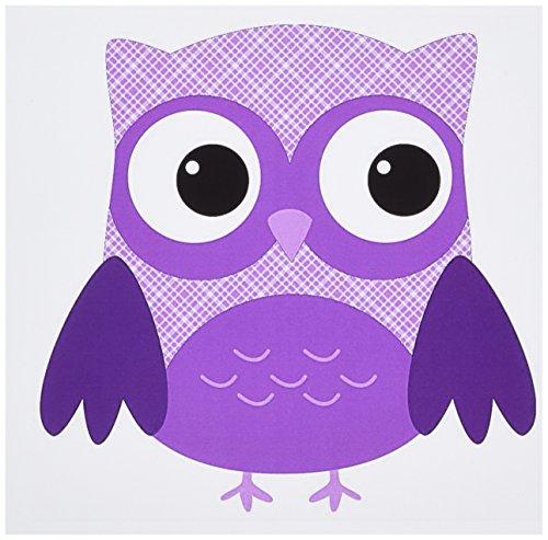 Plaid Owl - 3dRose Cute Purple Plaid Owl Greeting Cards, 6