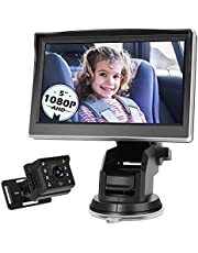 Antook 1080P Baby Car Mirror, 5 Inch Baby Car Camera for Back Seat Infants Kids Toddlers, Rear Facing Baby Safety Camera with Monitor, Infrared Lights, Night Vision, 150 Degree Wide View