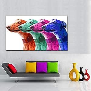 zgmtj SELFLESSLY Art Pop Art Canvas Print Poster Grey Dog Animal ...