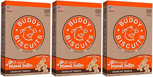 Cloud Star Buddy Biscuits Crunchy Itty Bitty Oven Biscuits Dog Treats with Natural Peanut Butter (3 Pack) 8 oz Each