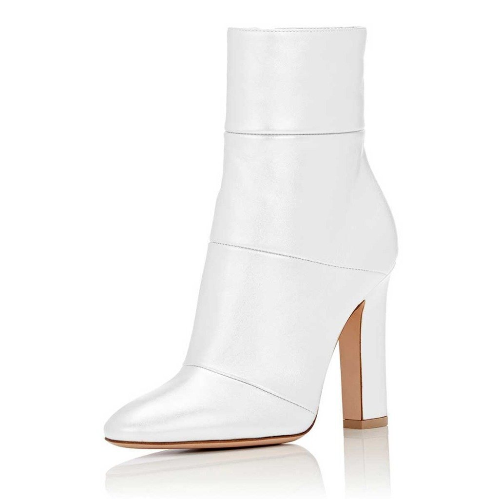 FSJ Women Retro Chunky High Heel Ankle Boots Pointed Toe Booties with Side Zipper Size 5 White