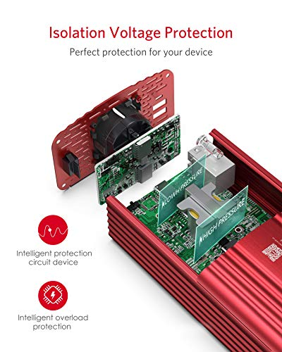 Wechselrichter 500W Reiner Sinus/Spannungswandler 12v 230v mit 4.2A Dual Smart USB-Anschlüsse Adapter Netzteil Kfz…
