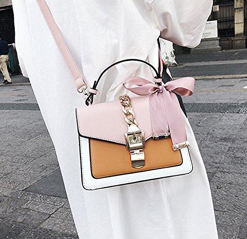 À PU Satchel Messenger Purse Ruban Brown Femmes Bandoulière Pink Accessoires Rayure Sac qtxY6fw