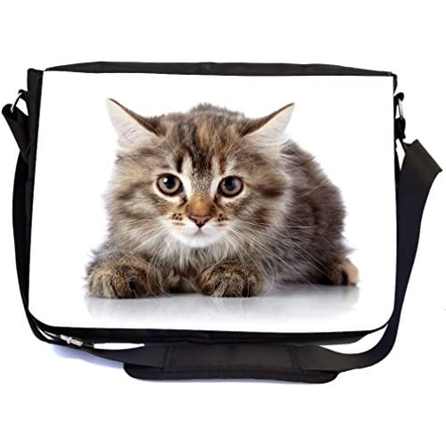 Rikki Knight Fluffy Beautiful Scared Kitten On A White Background. Design Multifunctional Messenger Bag - School Bag - Laptop Bag - Includes Matching Compact Mirror
