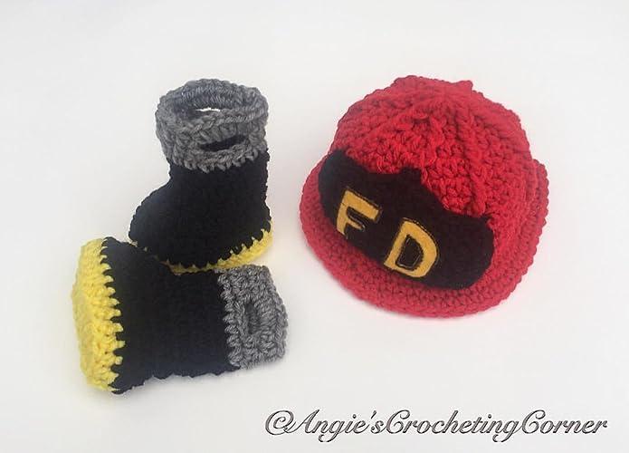 Amazon Crochet Newborn Firefighter Outfit Baby Fireman Set
