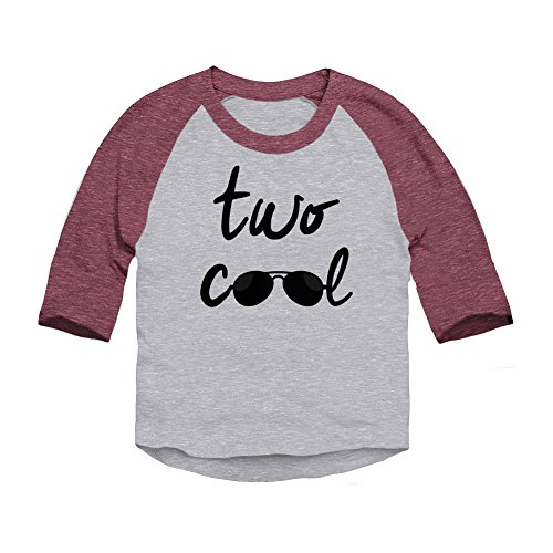 Trunk Candy Two Cool Toddler 2 Year Birthday 3/4 Sleeve Raglan Baseball T-Shirt (Heather/Burgundy, 2T) (Birthday Sleeve 3/4)