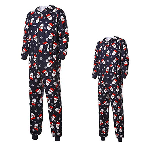 Honhui Holiday Matching Family Sleepwear Unisex Footed Adult Onesie One-Piece Pajama Jumpsuit