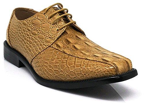 Enzo Romeo Gator Heren Alligator Krokodil Print Oxfords Loafers Mode Slip Op Kleding Schoenen Tan