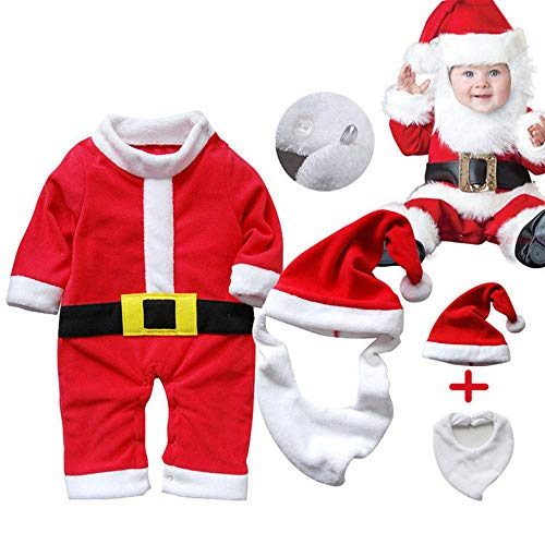 (Euone  Baby Xmas Costume, 3Pcs Newborn Baby Santa Claus Romper Hat Bib Boy Girl Christmas Jumpsuits Outfits)