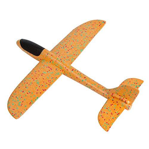 Pevor Throwing Glider Aircraft - Flying Toys Throwing Foam Airplane Inertia Glider Hand Launch Model Airplane Outdoor Sports Gift Free Flight Toy for Kids, Children, Boy, Girl (Orange)