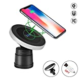 iphone 4 car charger mount - Magnetic QI Wireless Car Charger Mount , 2-in-1 Wireless Charging and Magnetic Car Mount , QI Charging for iphoneX /8/8PLUS, Samsung Galaxy S8 /S7/S7edge,S6 edge plus,Note8/5 or any QI enabled device