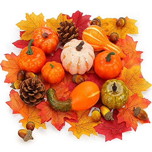 VGOODALL Artificial Pumpkins Home Fall Decorations,50 PCS Artificial Harvest Decoration Fake Vegetables for Fall Garland Halloween Thanksgiving Decorations