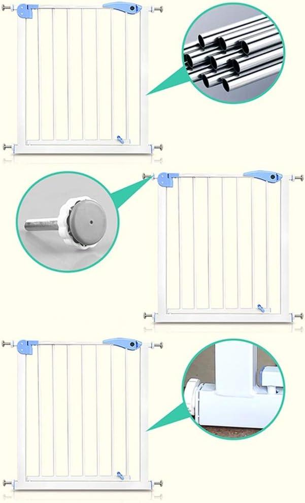 Color : White, Size : W 76-83cm LICHUN Barrera De Seguridad Escalera Puerta for Ni/ños Perros Canal Ultra Ancho Doble Bloqueo Arriba Y Abajo Ingredientes Ecol/ógicos H78CM