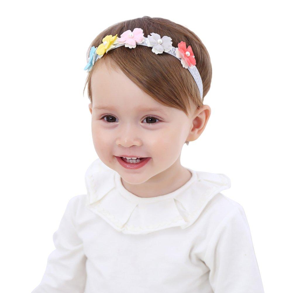 Fmeida Bandeau Élastique Fleurs Rose pour Bébé Fille 0-4 Ans