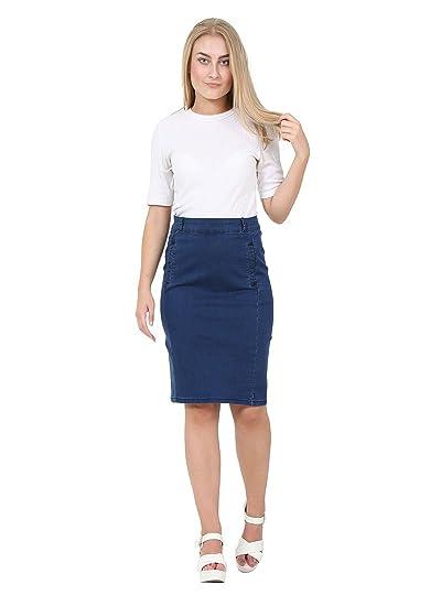 d75ddf5f5b Cindy H Knee-Length Darkwash Denim Skirt Pencil Skirt Denim Midi Skirt EVA:  Amazon.co.uk: Clothing