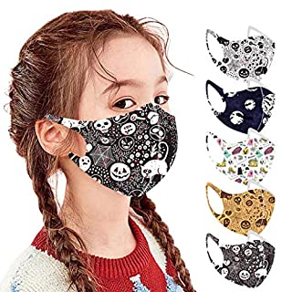 5 PC Halloween Reusable Vintage Unisex Kids Face Bandanas Washable Breathable Seamless Cute Print Child School Supplies
