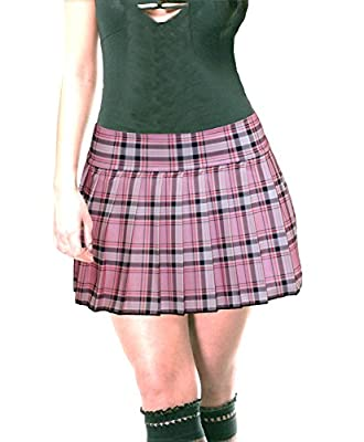 Baby Pink Stretch Lycra Schoolgirl Tartan Plaid Pleated Mini Skirt Stretch Baby Pink
